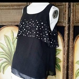 Kenneth Cole tank with Chiffon silver stud overlay